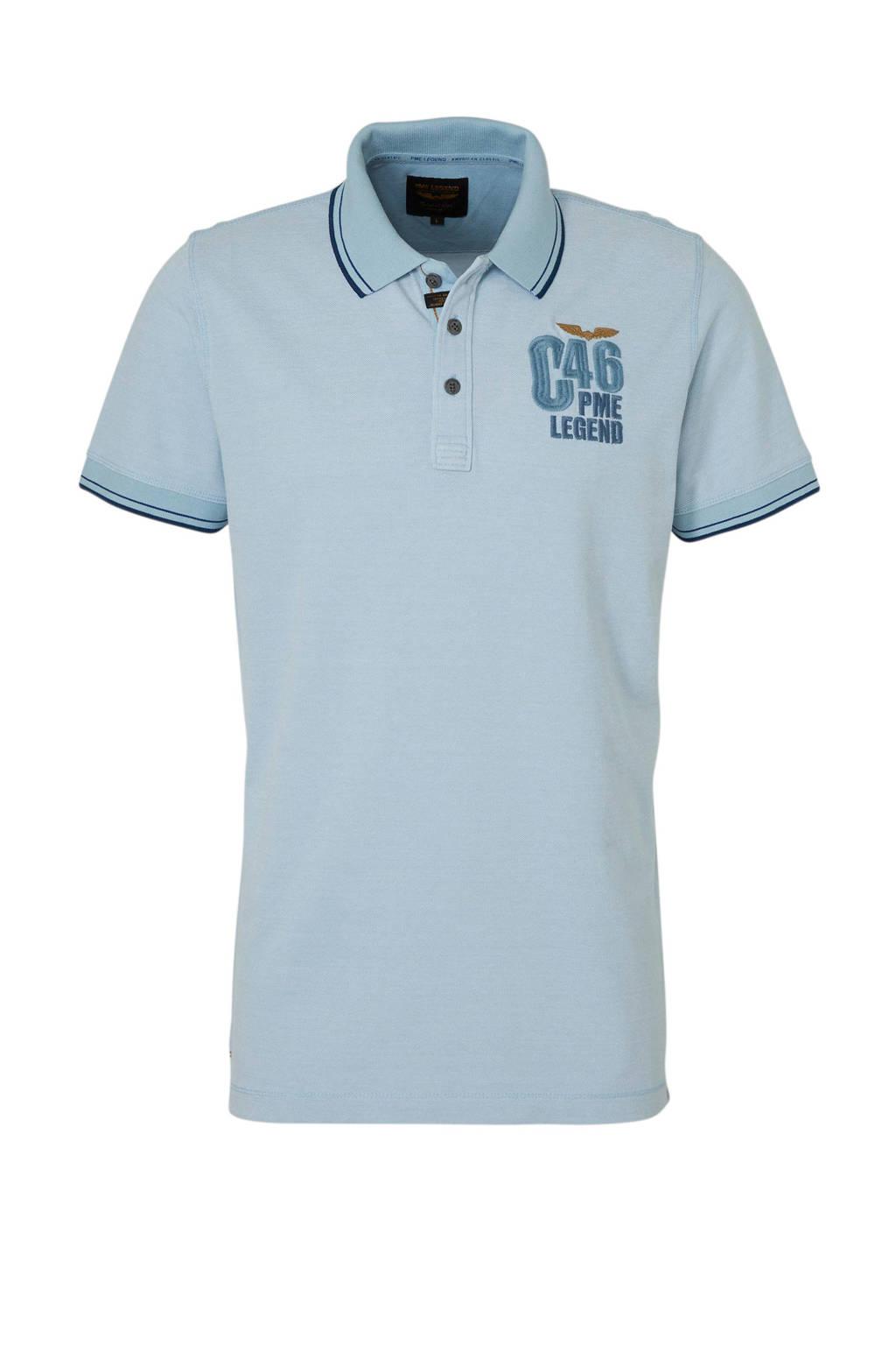 PME Legend regular fit polo met tekst en borduursels lichtblauw/donkerblauw, Lichtblauw