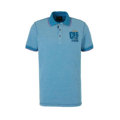 PME Legend polo met printopdruk blauw