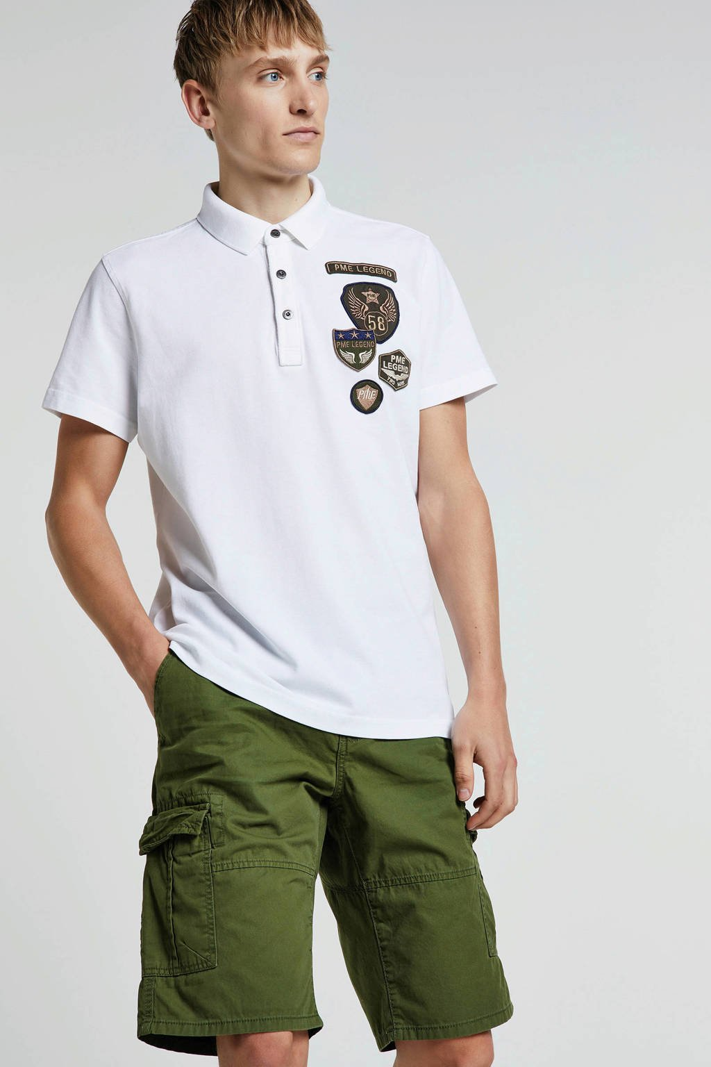 PME Legend regular fit polo met all over print donkerblauw, Donkerblauw