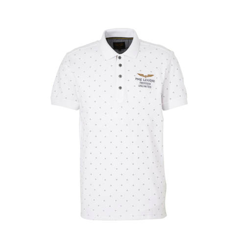 PME Legend regular fit polo met all over print wit