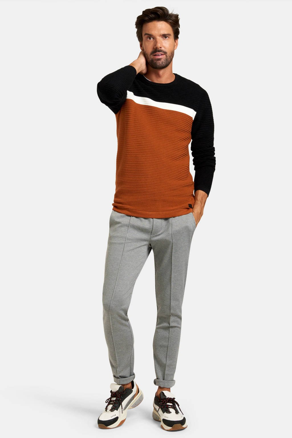Refill by Shoeby trui Rens oranje/wit/donkerblauw, Oranje/wit/donkerblauw
