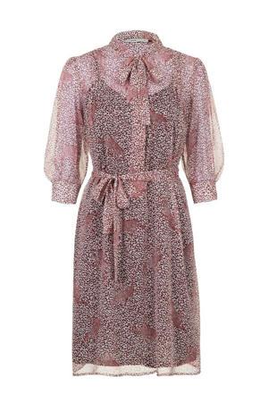 blousejurk met all over print en ceintuur roze