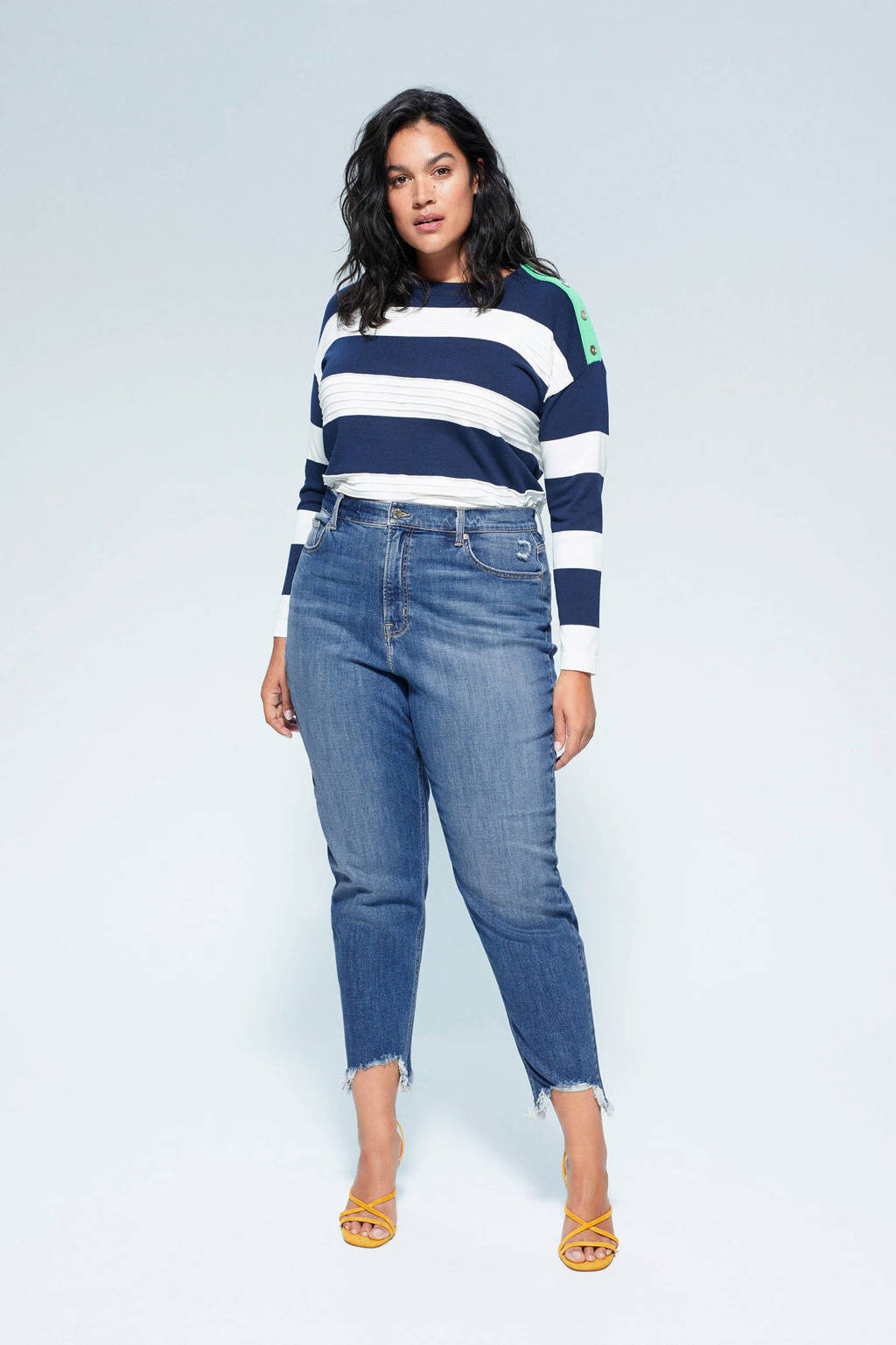 Violeta by Mango high waist mom capri jeans blue denim, Blue denim