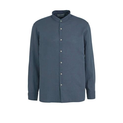 Mango Man regular fit overhemd met linnen donkerbl