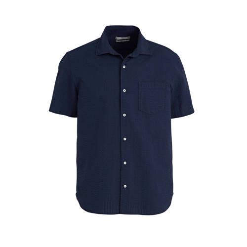 Mango Man regular fit overhemd donkerblauw