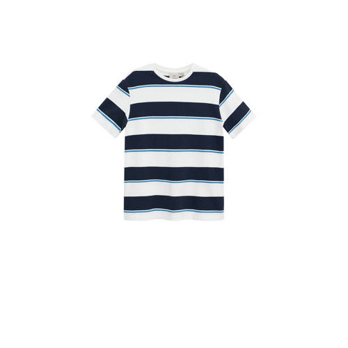 Mango Man gestreept T-shirt wit/donkerblauw/blauw