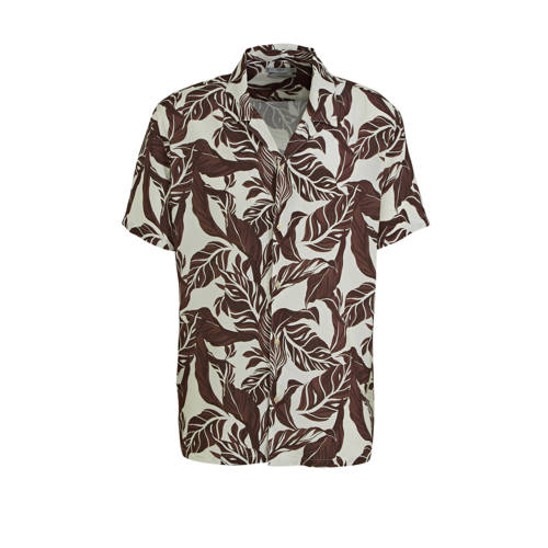 Mango Man regular fit overhemd met bladprint bruin