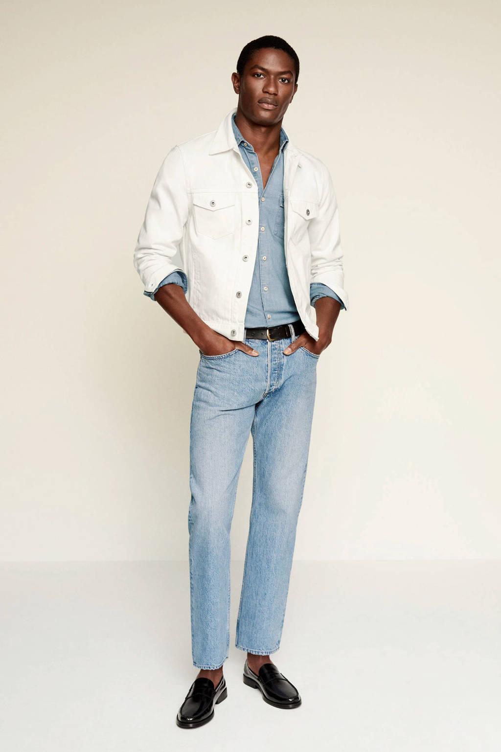 Mango Man regular fit overhemd changeant blauw