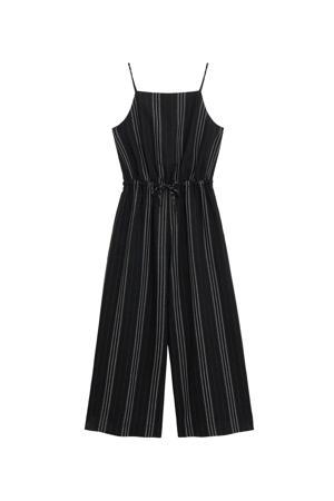 gestreepte jumpsuit met linnen zwart/wit