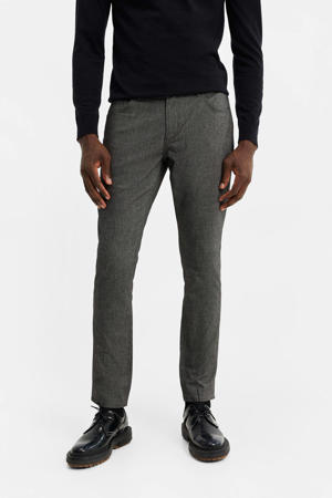 gemêleerde slim fit broek grey melange