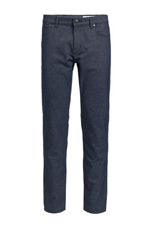 gemêleerde slim fit broek royal navy melange
