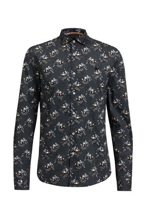 gebloemd slim fit overhemd zwart