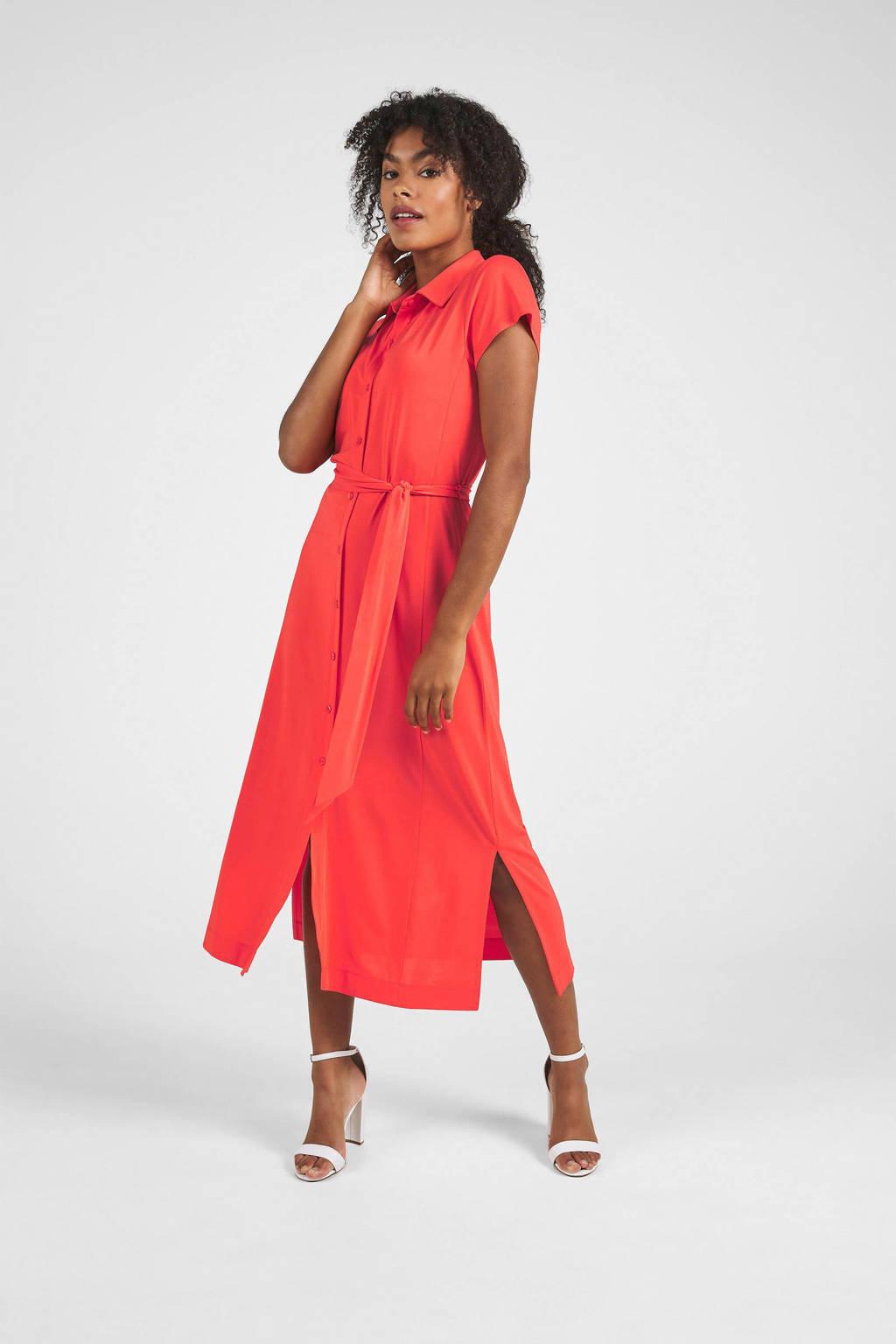 Expresso jurk met ceintuur koraal roze