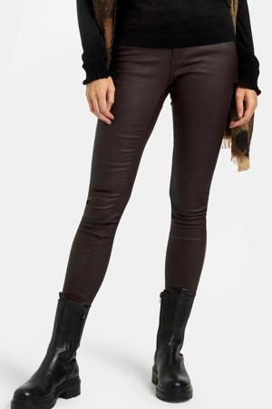 coated skinny broek Cyra donkerbruin