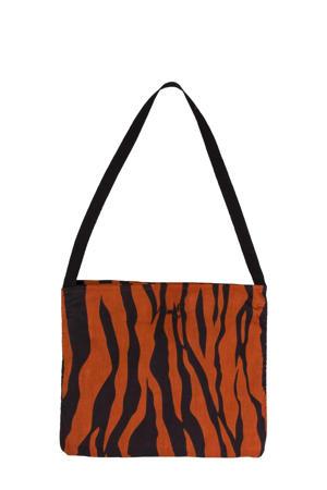 schoudertas met zebraprint bruin