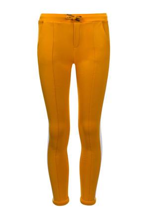 slim fit broek met zijstreep honinggeel/wit