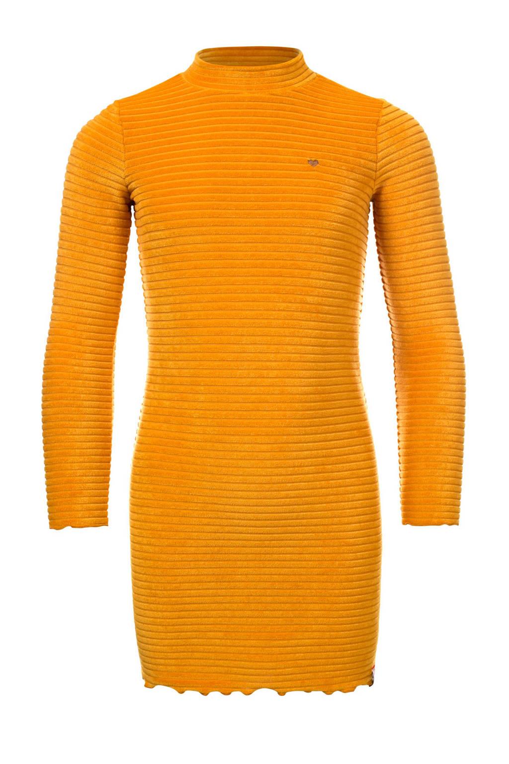 LOOXS little gestreepte fluwelen jurk honinggeel, Honey520