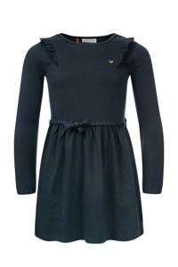 LOOXS little jurk met ruches blauw/grijs, Blauw/grijs