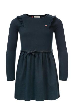 jurk met ruches blauw/grijs