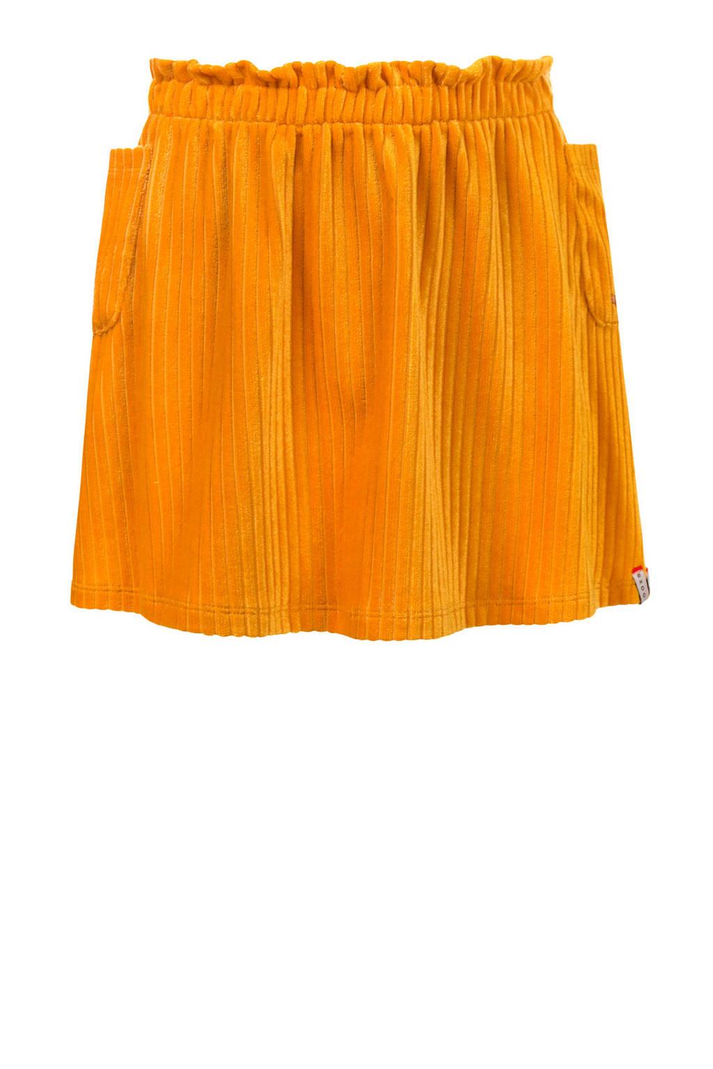 LOOXS little fluwelen rok met textuur honinggeel, Honinggeel