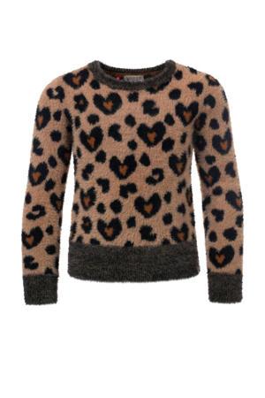 sweater met panterprint lichtbruin/bruin