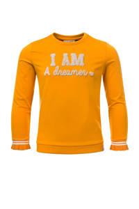 LOOXS little sweater met contrastbies honinggeel, Honinggeel