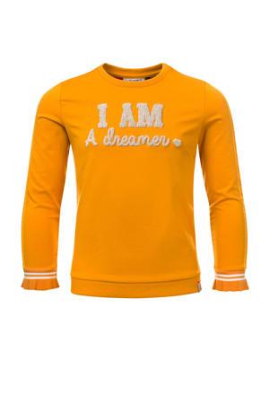 sweater met contrastbies honinggeel