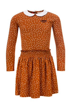 jurk met stippen karamelwit