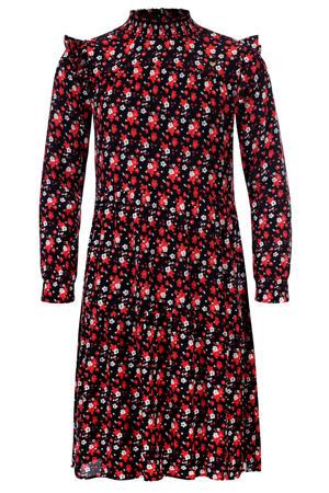 gebloemde A-lijn jurk rood/zwart/wit