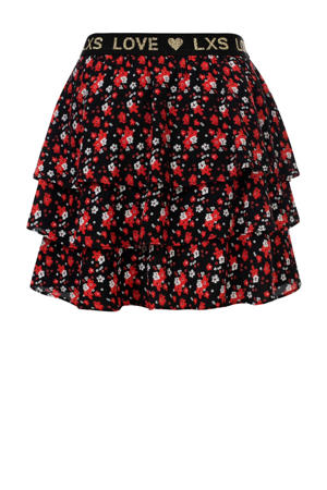 strokenrok met bloemen rood/zwart/wit