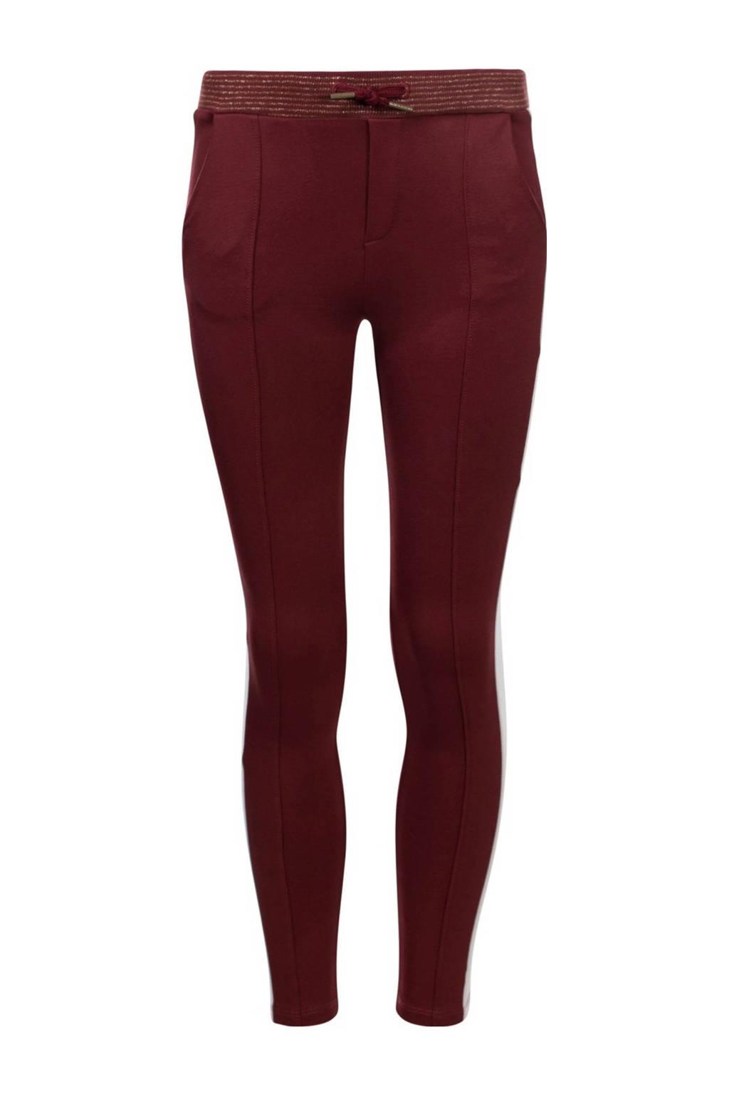 LOOXS little slim fit broek met zijstreep wijnrood/offwhite, Wijnrood/offwhite