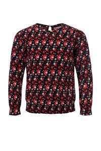 LOOXS little gebloemde top rood/zwart/wit, Rood/zwart/wit