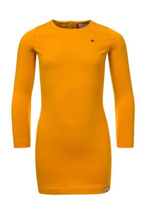 jurk met contrastbies honinggeel