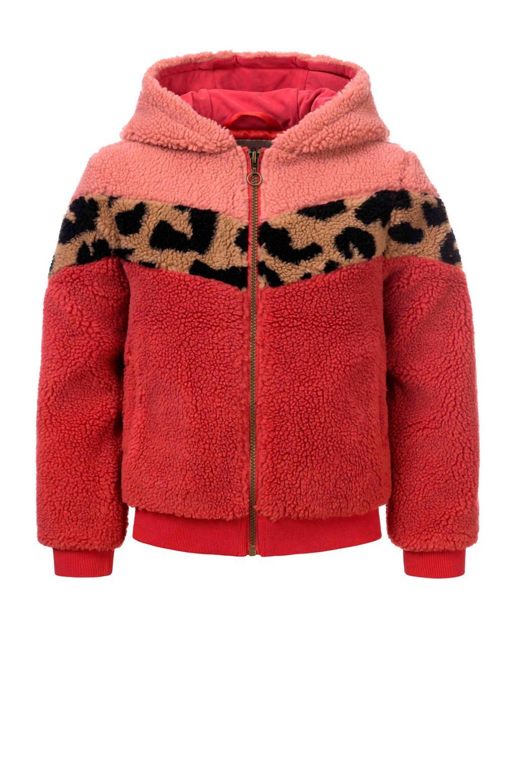 LOOXS little teddy winterjas fuchsia/roze/bruin, Fuchsia/roze/bruin