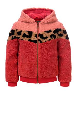 teddy winterjas fuchsia/roze/bruin