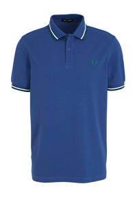 Fred Perry regular fit polo blauw/wit, Blauw/wit