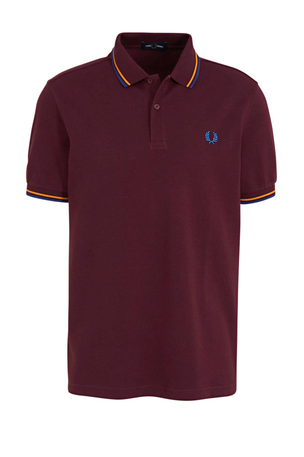 Fred Perry slim fit polo donkerrood, Donkerrood