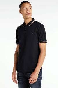 Fred Perry regular fit polo donkerblauw/geel, Donkerblauw/geel