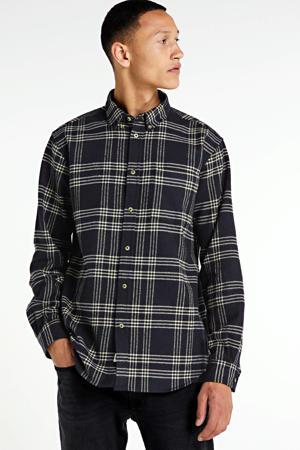 geruit regular fit overhemd donkerbruin/beige