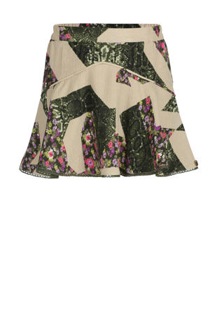 rok Giga met all over print groen/beige