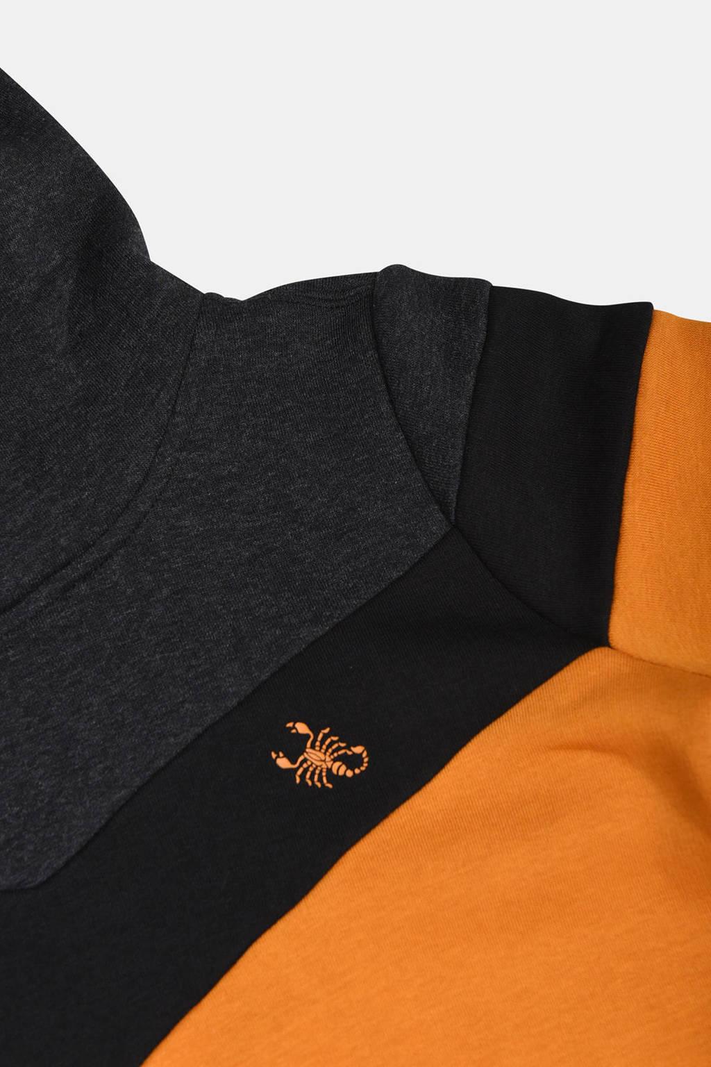 Jill & Mitch by Shoeby hoodie Parker donkergeel/zwart, Donkergeel/zwart