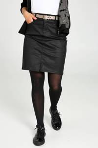 Cassis coated rok met ceintuur zwart/zand/goud, Zwart/zand/goud