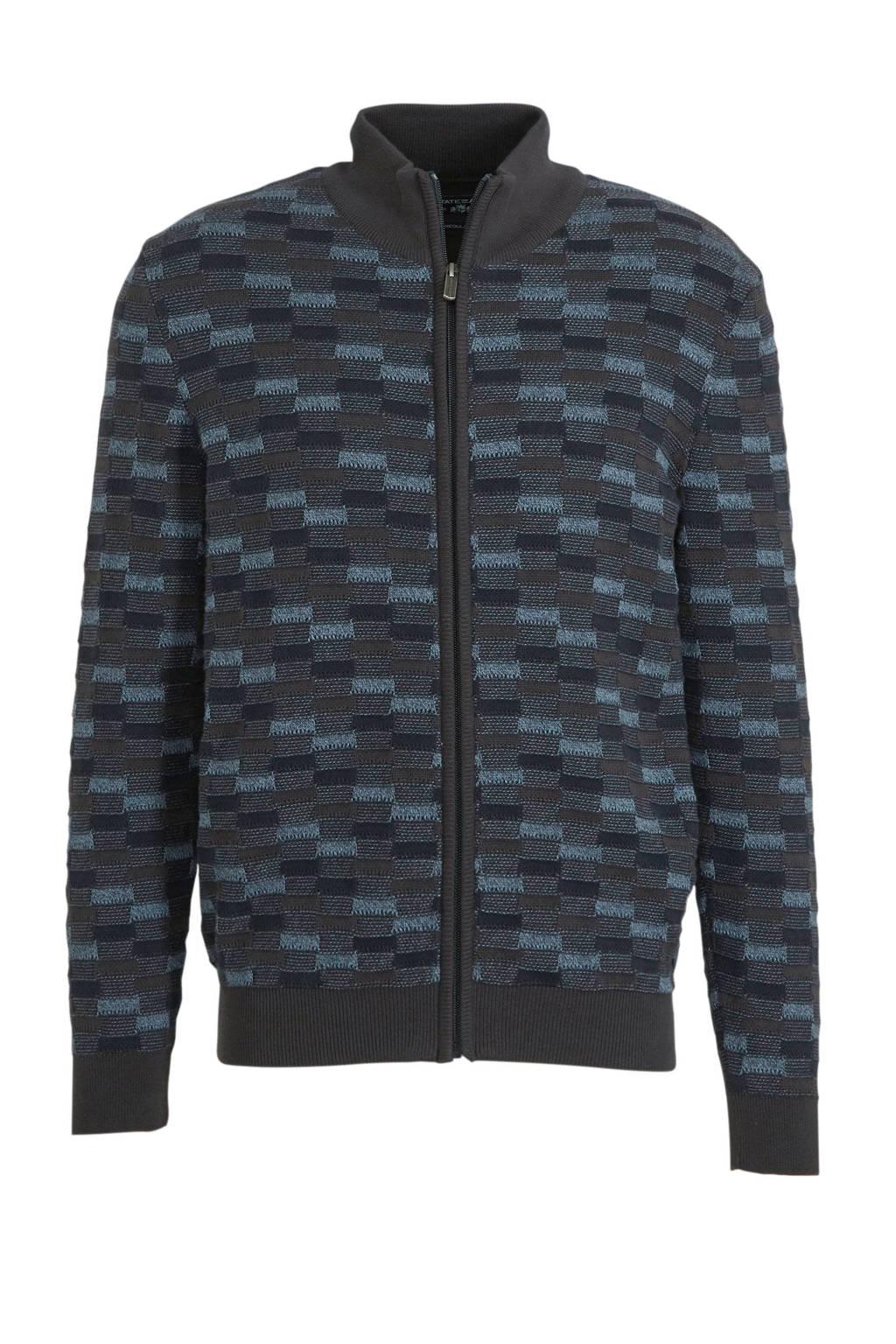 State of Art gebreid vest met all over print donkergrijs/blauw, Donkergrijs/blauw