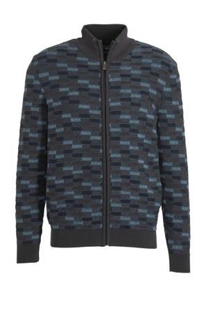 gebreid vest met all over print donkergrijs/blauw