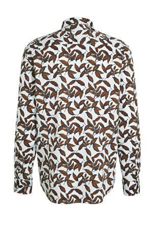 regular fit overhemd met all over print camel/donkerblauw