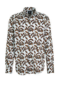 State of Art regular fit overhemd met all over print camel/donkerblauw, Camel/donkerblauw