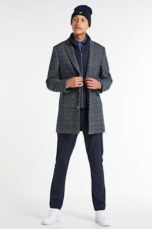 geruite winterjas met wol donkerblauw/beige