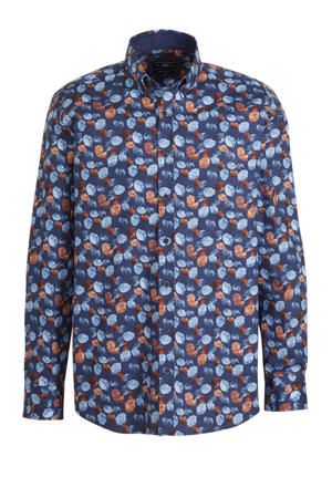 regular fit overhemd met all over print donkerblauw/blauw/oranje