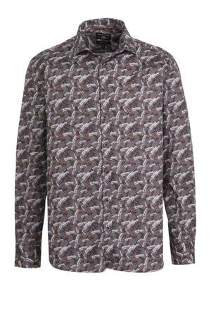 regular fit overhemd met all over print bruin/wit