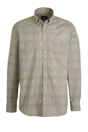 regular fit overhemd met all over print bruin